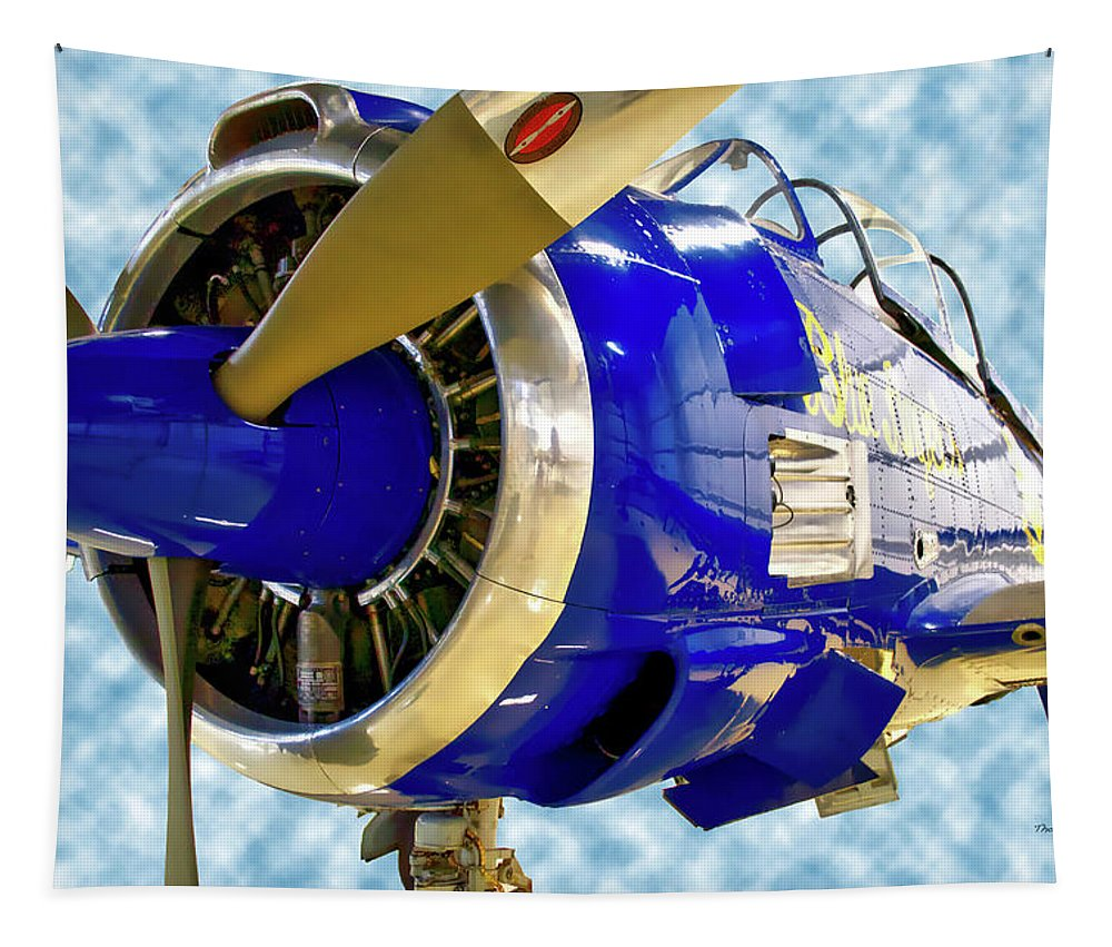 Air Zoo Tapestry featuring the mixed media Airplane Propeller And Engine T28 Trojan 02 by Thomas Woolworth