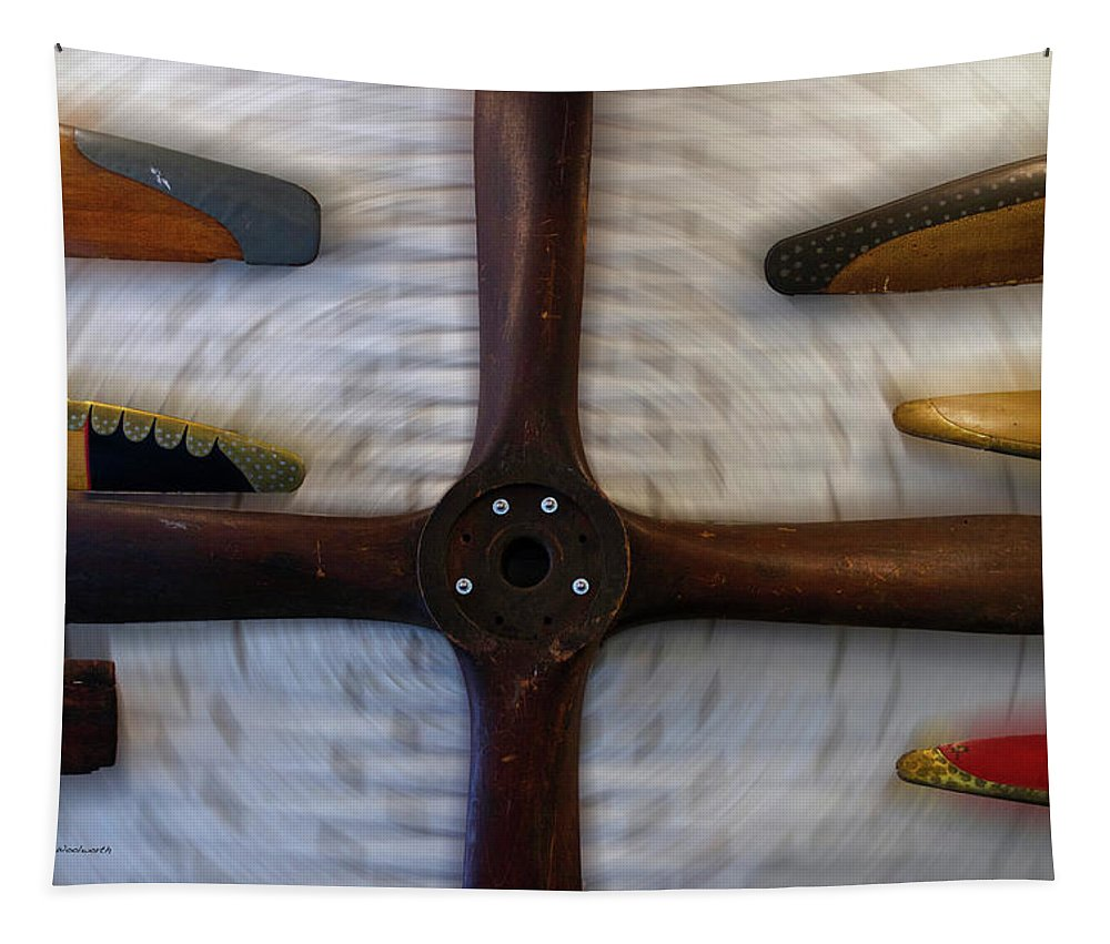 Air Zoo Tapestry featuring the mixed media Airplane Wooden Propellers 01 by Thomas Woolworth