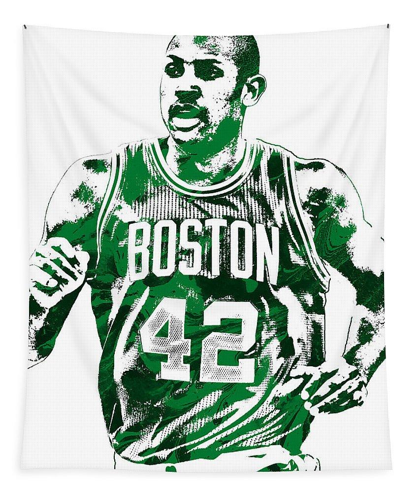 Al Horford Tapestry featuring the mixed media Al Horford Boston Celtics Pixel Art by Joe Hamilton