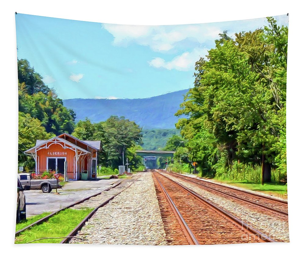 Train Depot Tapestry featuring the photograph Alderson Train Depot And Tracks Alderson West Virginia by Kerri Farley