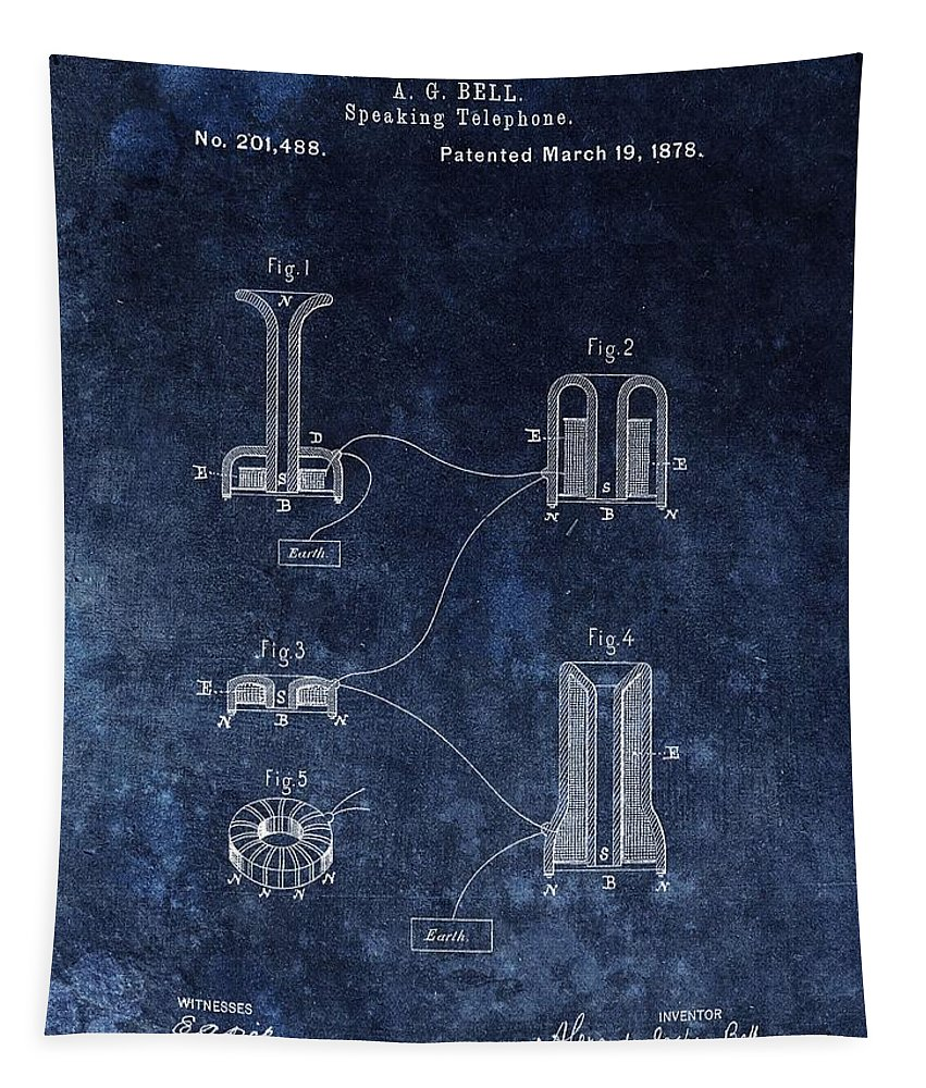 Telephone Patent Tapestry featuring the drawing Alexander Graham Bell's Telephone by Dan Sproul