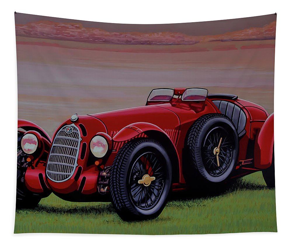 Alfa Romeo 8c 2900a Botticella Spider 1936 Tapestry featuring the painting Alfa Romeo 8c 2900a Botticella Spider 1936 Painting by Paul Meijering