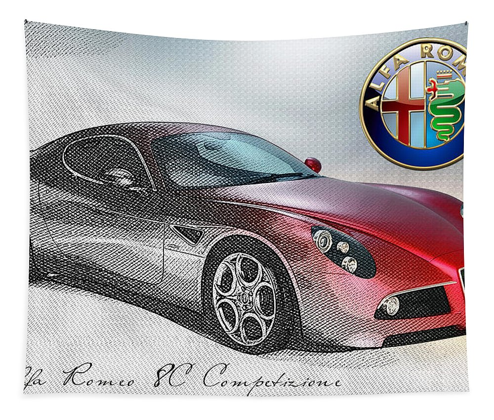 Wheels Of Fortune By Serge Averbukh Tapestry featuring the photograph Alfa Romeo 8C Competizione by Serge Averbukh