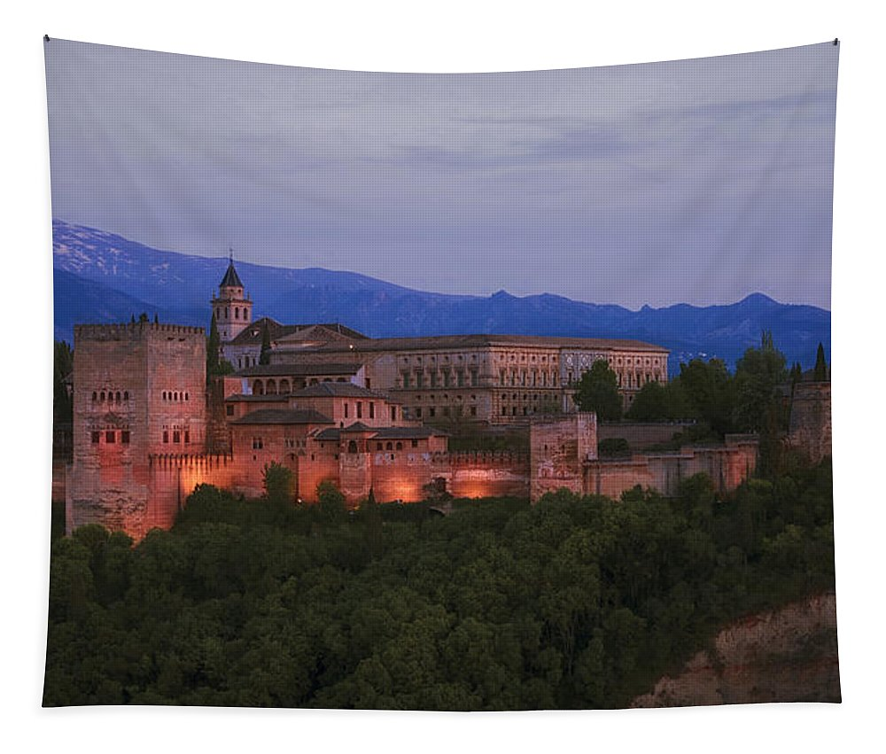 Joan Carroll Tapestry featuring the photograph Alhambra Granada Dusk by Joan Carroll