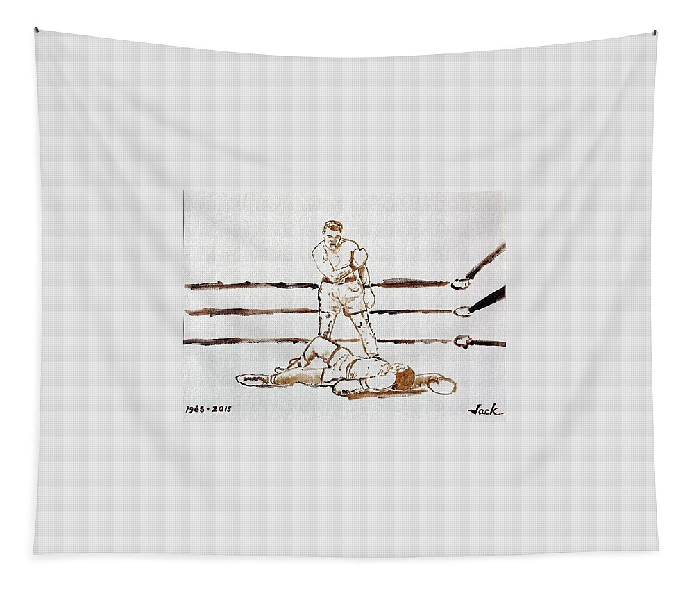 Muhammad Ali Tapestry featuring the painting Ali Knockout by Jack Bunds
