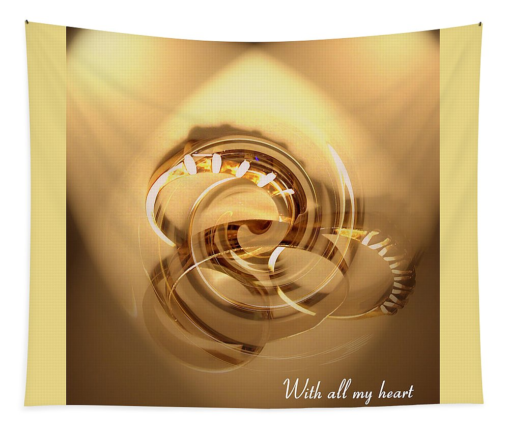 Heart Tapestry featuring the greeting card All My Heart by Linda Galok