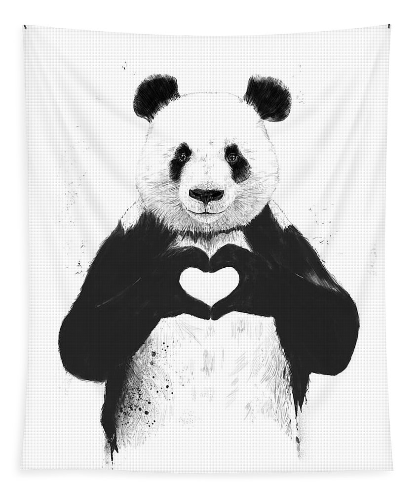 Panda Tapestry featuring the mixed media All You Need Is Love by Balazs Solti