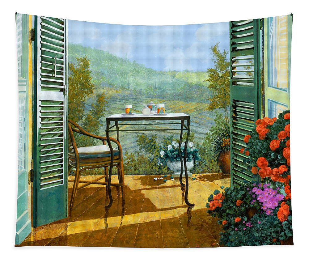 Terrace Tapestry featuring the painting Alle Dieci Del Mattino by Guido Borelli