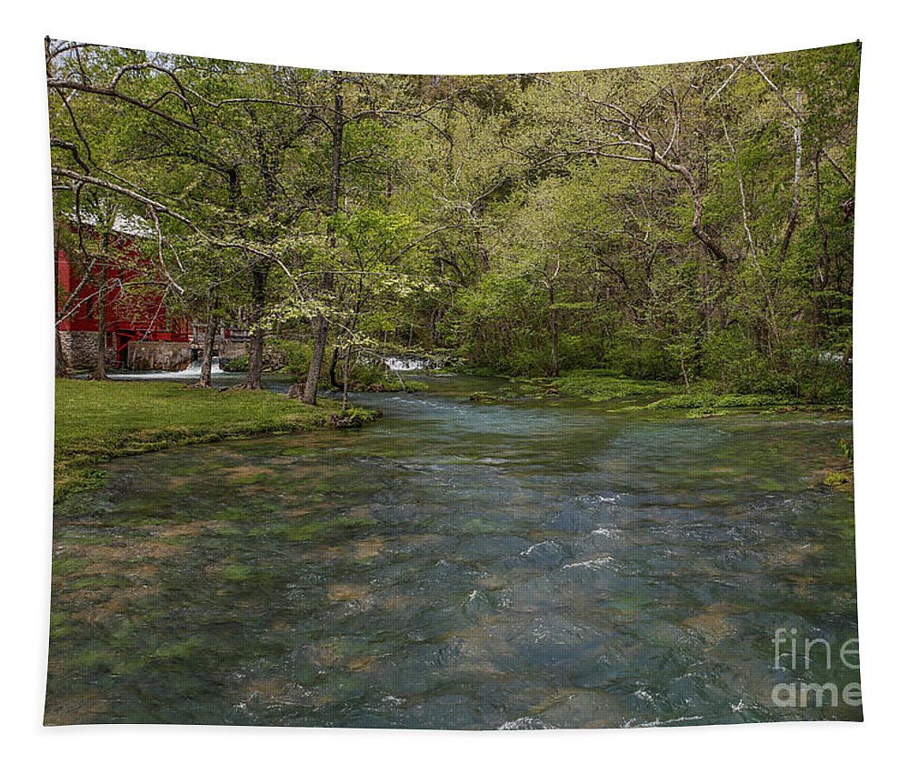Missouri Ozarks Tapestry featuring the photograph Alley Mill by Lynn Sprowl