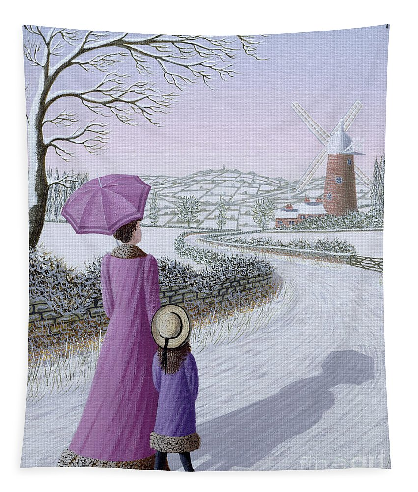 Naive; Landscape; Windmill; Shadow; Umbrella; Parasol Tapestry featuring the painting Almost Home by Peter Szumowski