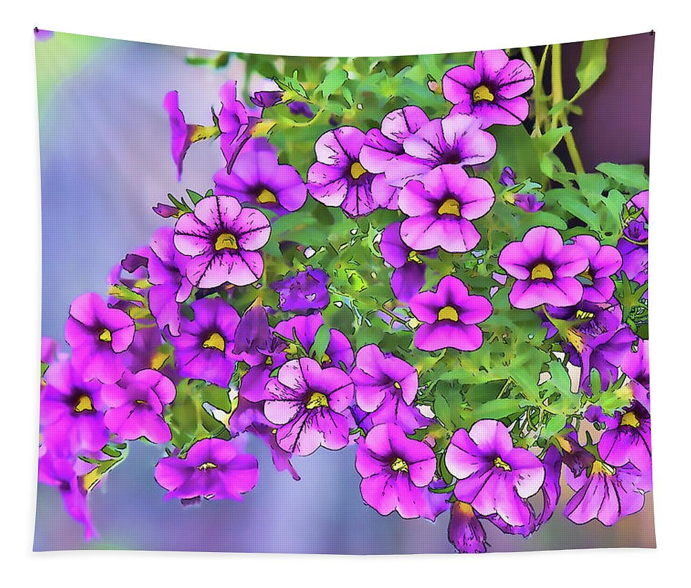Linda Brody Tapestry featuring the digital art Aloha Purple Sky Calibrachoa Abstract I by Linda Brody
