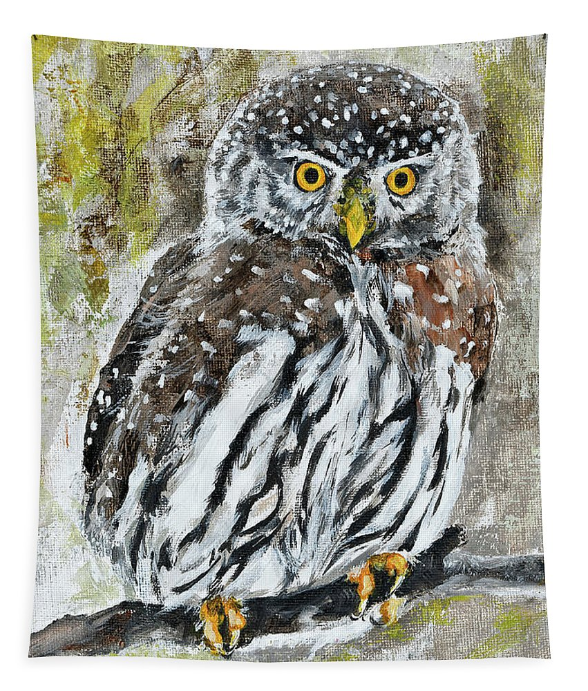 Little Owl Tapestry featuring the painting Alone In The Night by Maria Arnaudova