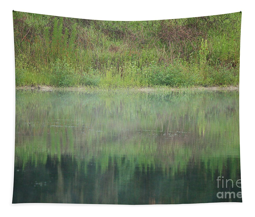 Nature Abstract Tapestry featuring the photograph Along The Edge Of The Pond by Carol Groenen