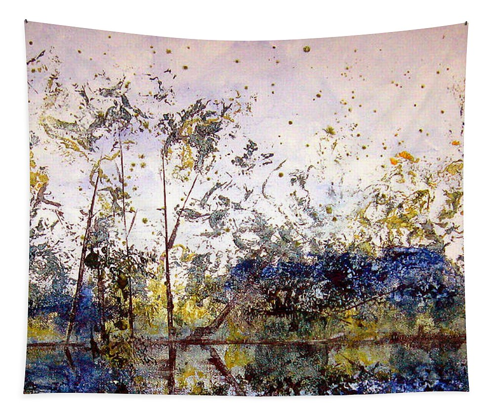 Abstract Tapestry featuring the painting Along The River Bank by Ruth Palmer