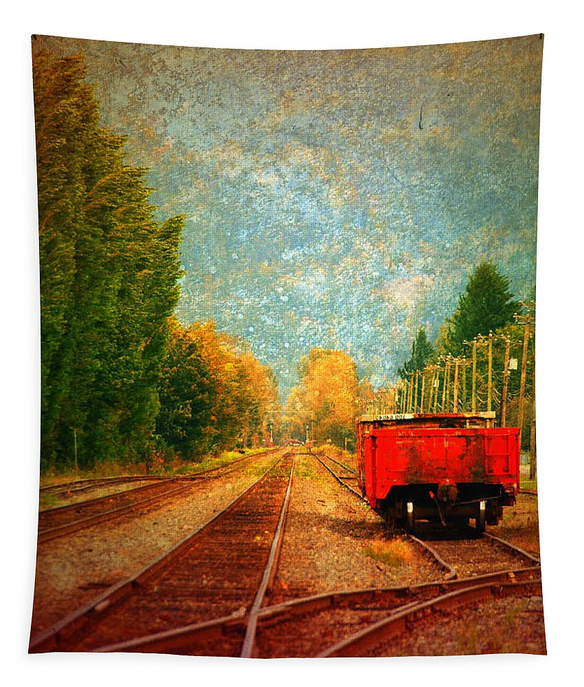 Railway Tracks Tapestry featuring the photograph Along The Tracks by Tara Turner