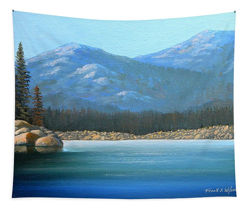Landscape Tapestry featuring the painting Alpine Lake by Frank Wilson