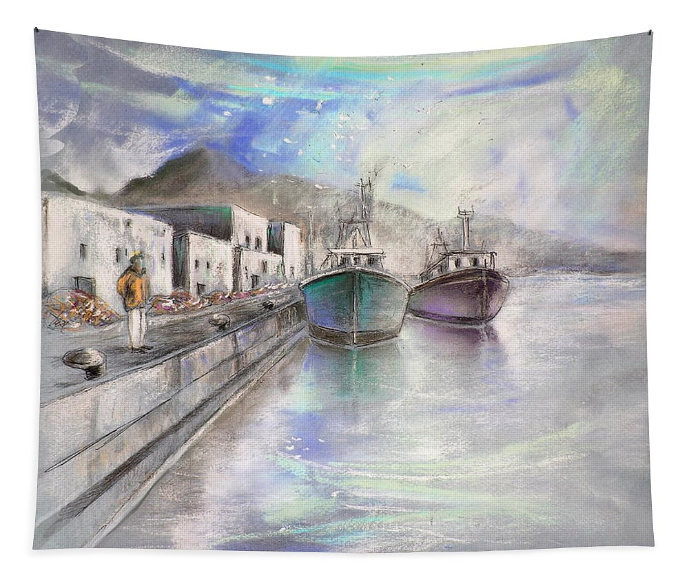 Altea Lanscape Tapestry featuring the painting Altea Harbour On The Costa Blanca 01 by Miki De Goodaboom