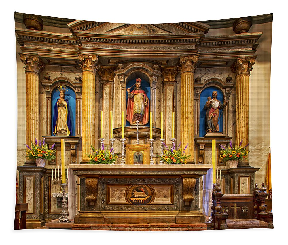 Altar Tapestry featuring the photograph Alter Of The Mission San Buenaventura by Mountain Dreams