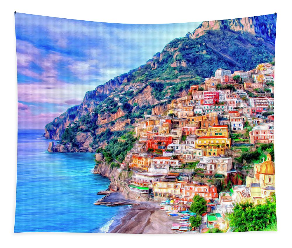 Italy Tapestry featuring the painting Amalfi Coast At Positano by Dominic Piperata