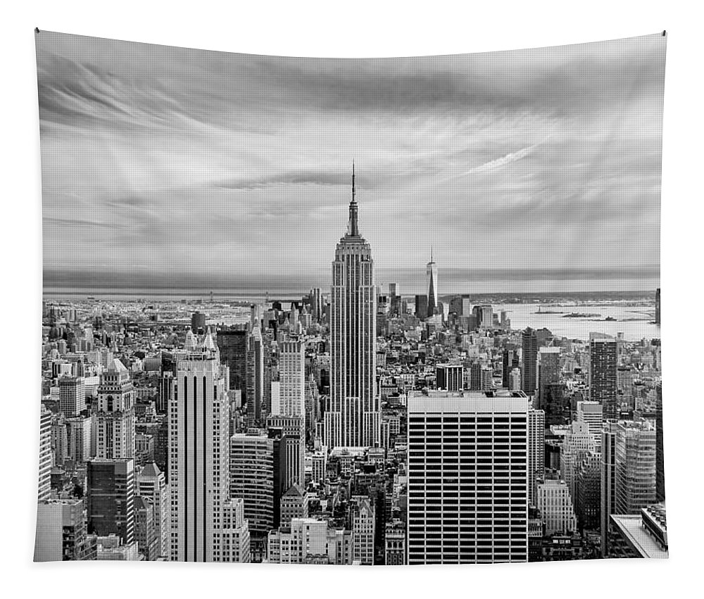 Empire State Building Tapestry featuring the photograph Amazing Manhattan Bw by Az Jackson