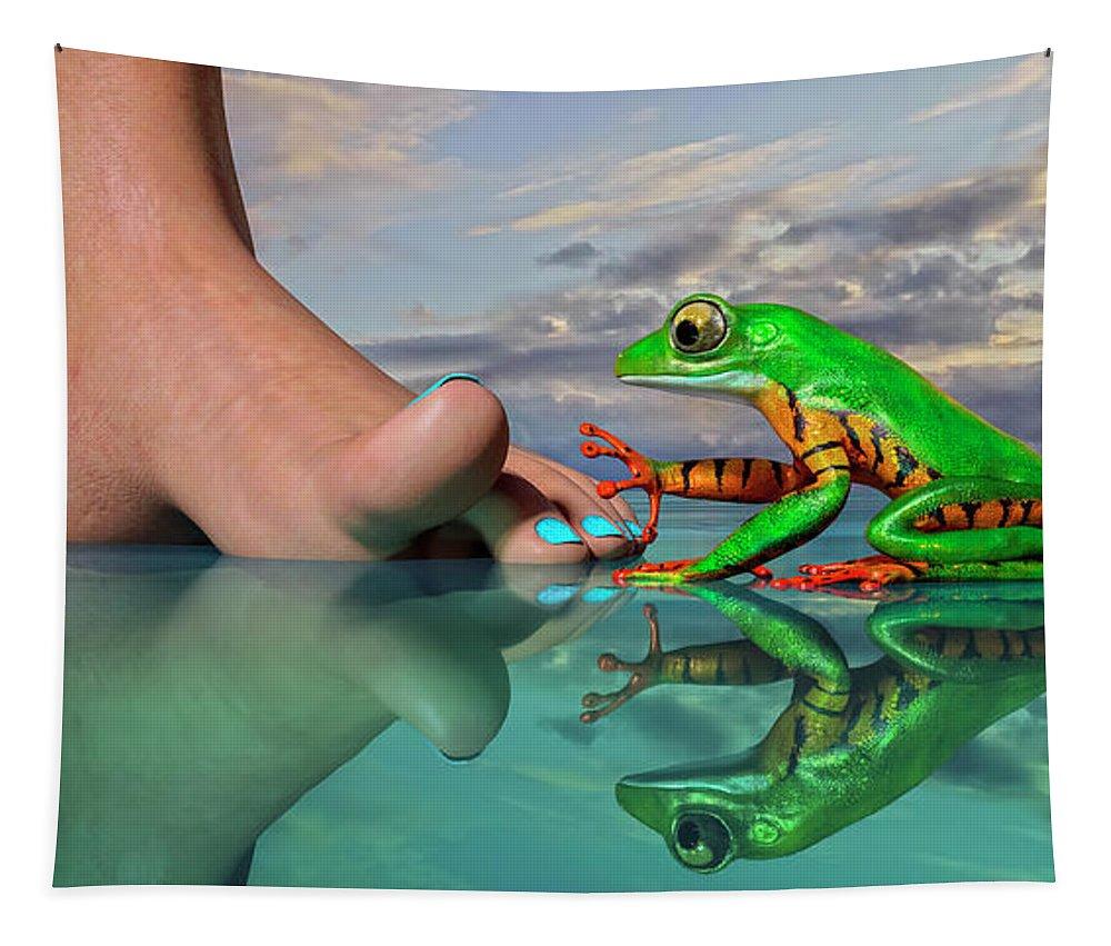 Tree Tapestry featuring the digital art Amazon Tree Frog Curiosity by Betsy Knapp