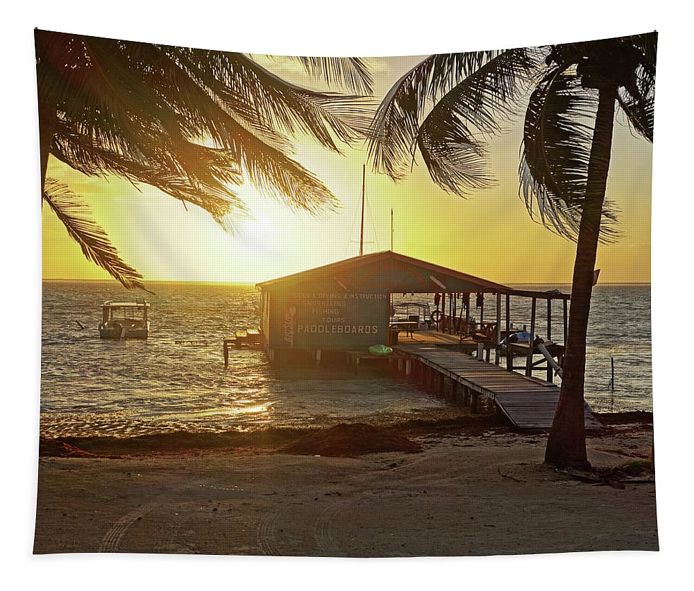 Belize Tapestry featuring the photograph Ambergris Cayr Sunrise Palm Trees San Pedro Belize by Toby McGuire