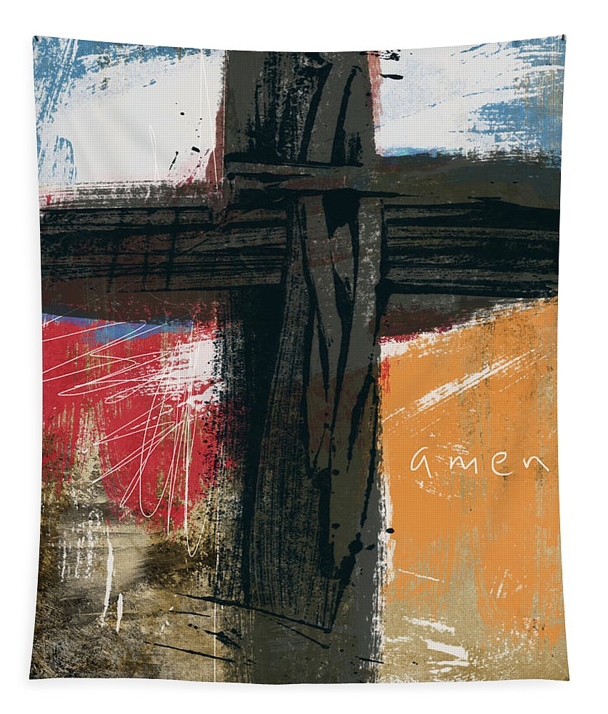 Abstract Tapestry featuring the mixed media Amen Contemporary Cross- Art By Linda Woods by Linda Woods