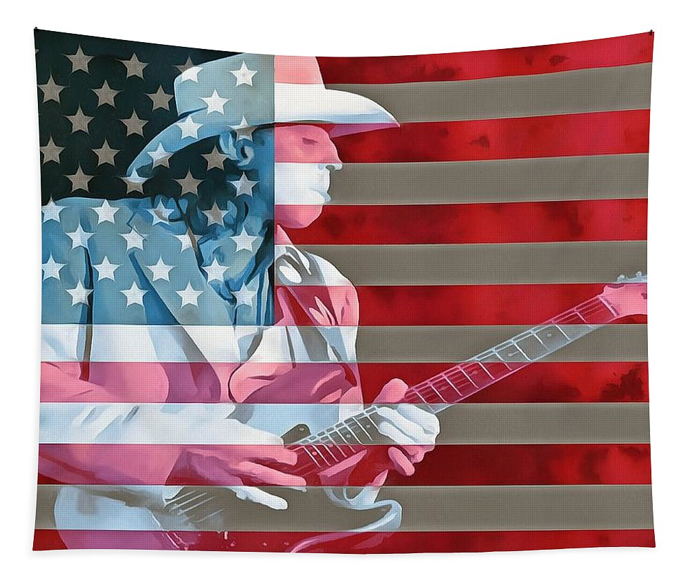 American Bluesman Stevie Ray Vaughan Tapestry featuring the digital art American Bluesman Stevie Ray Vaughan by Dan Sproul