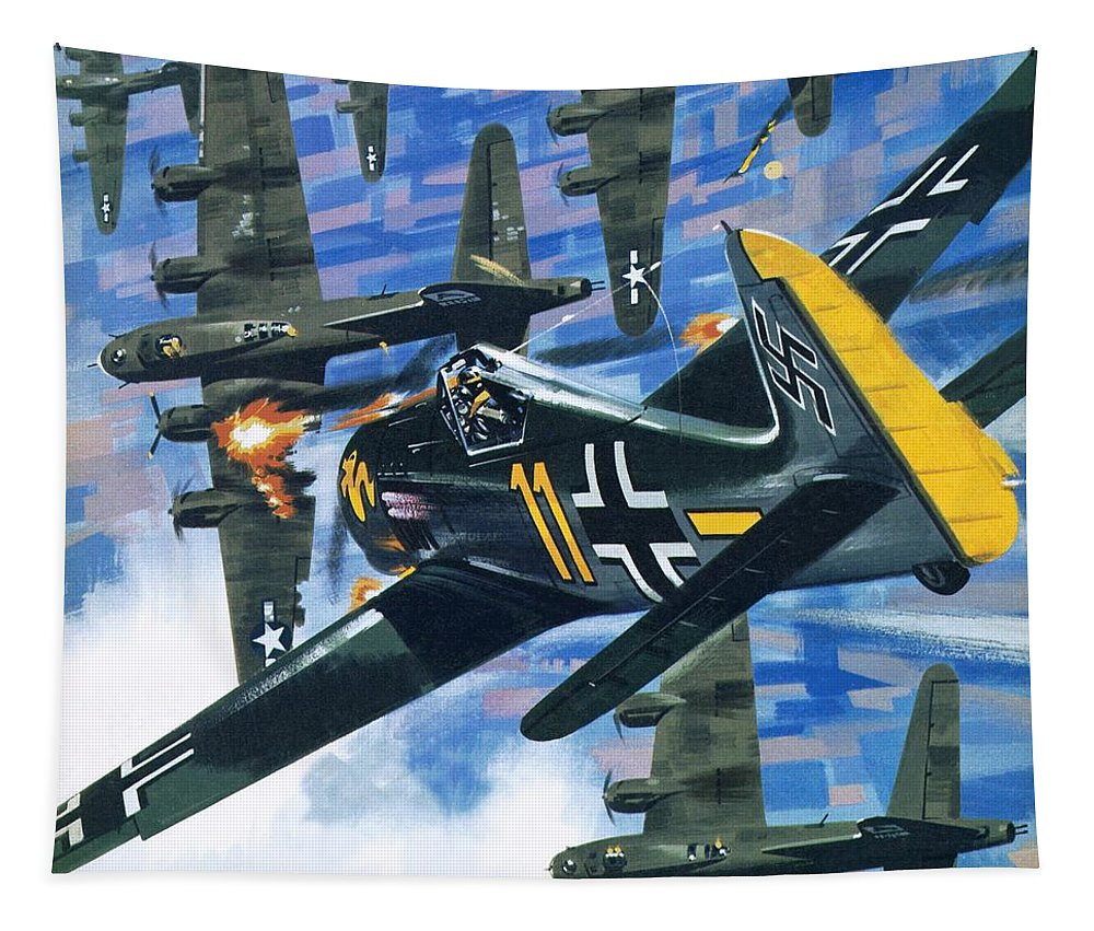 American Bombing Raid Tapestry featuring the painting American Bombing Raid Over Europe In July 1943 by Wilf Hardy