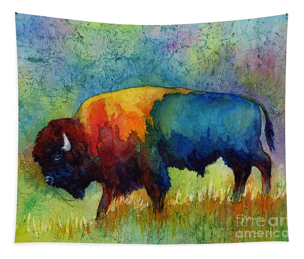 Bison Tapestry featuring the painting American Buffalo III by Hailey E Herrera