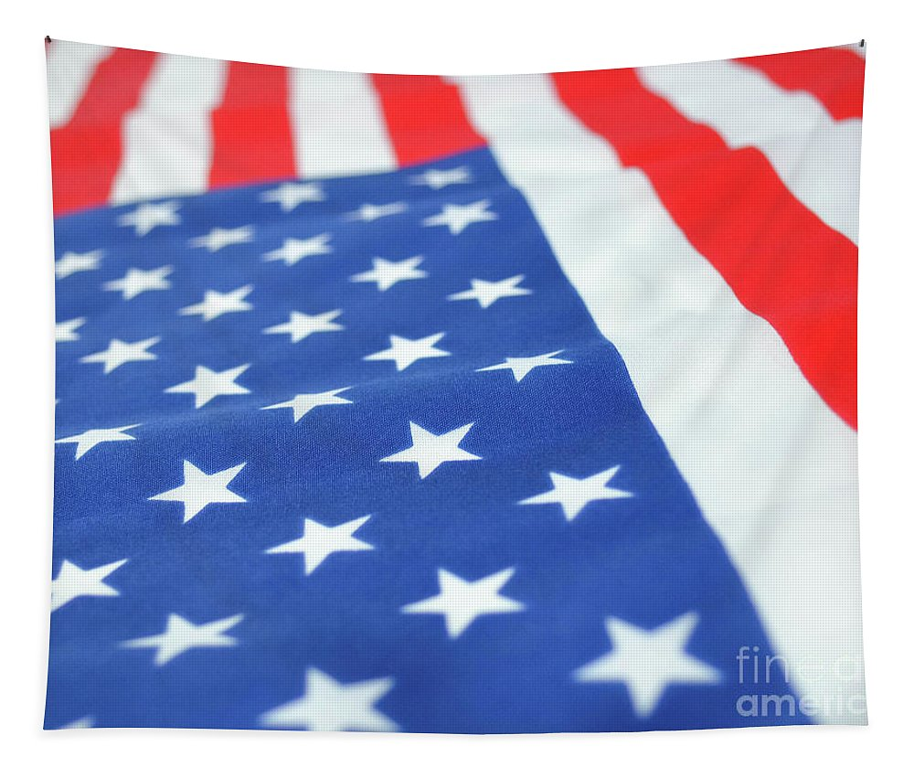 Red Tapestry featuring the photograph American Flag 2 by Andrea Anderegg