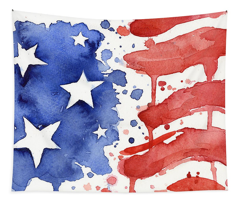 Red Tapestry featuring the painting American Flag Watercolor Painting by Olga Shvartsur