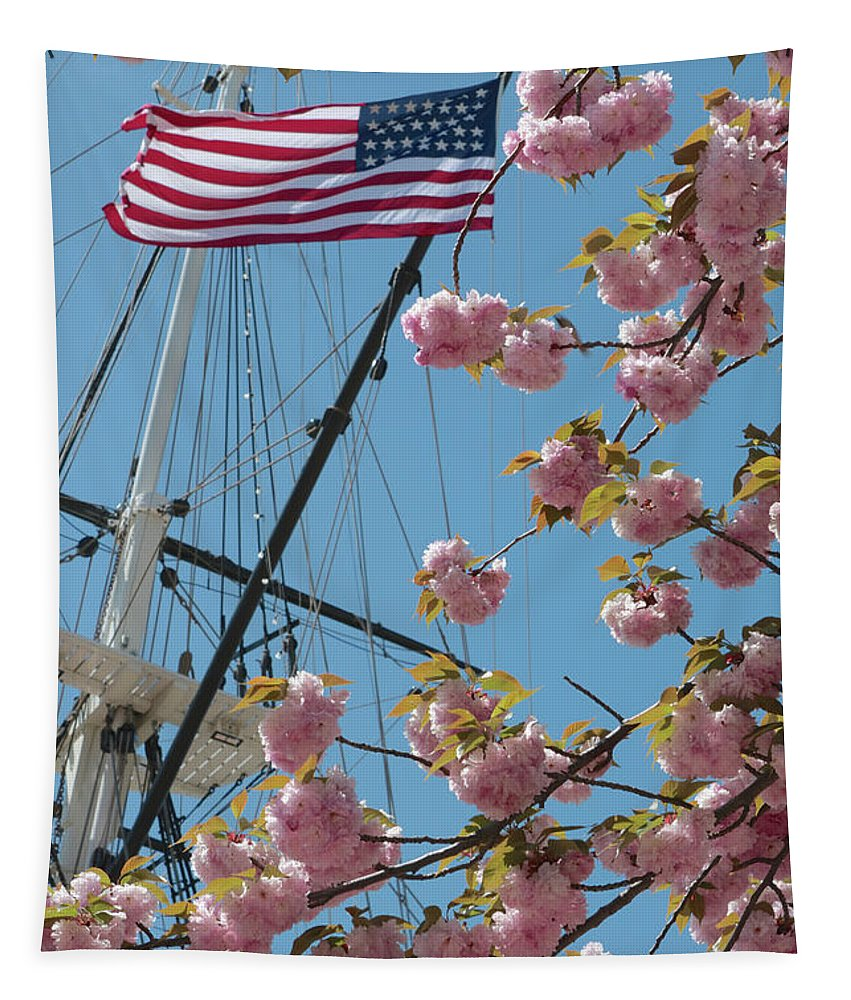 American Flag Tapestry featuring the photograph American Flag With Cherry Blossoms by Carol Groenen