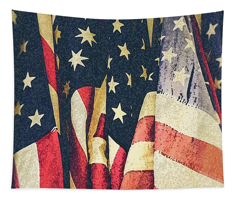 America Tapestry featuring the photograph American Flags Painted Square Format by Edward Fielding