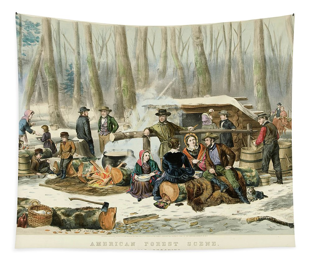 American Tapestry featuring the painting American Forest Scene Maple Sugaring by Currier and Ives