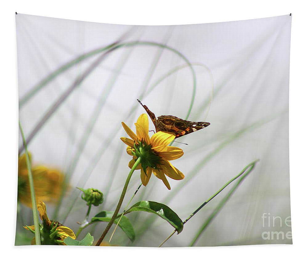 Butterfly Tapestry featuring the photograph American Lady Butterfly Balancing By The Sea by Karen Adams