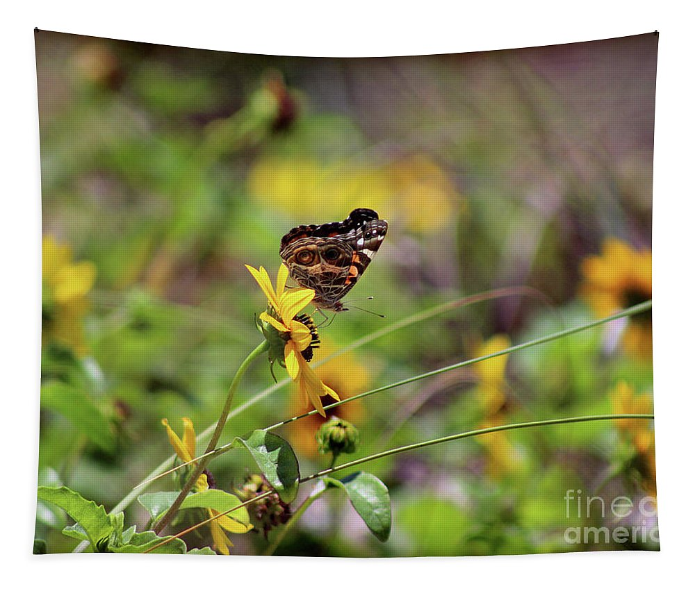 Butterfly Tapestry featuring the photograph American Lady Butterfly Seaside by Karen Adams