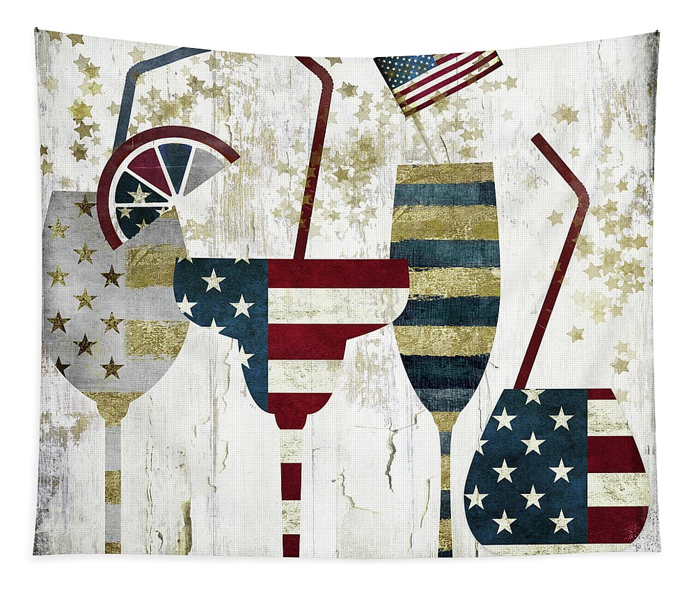 America Tapestry featuring the painting American Party by Mindy Sommers