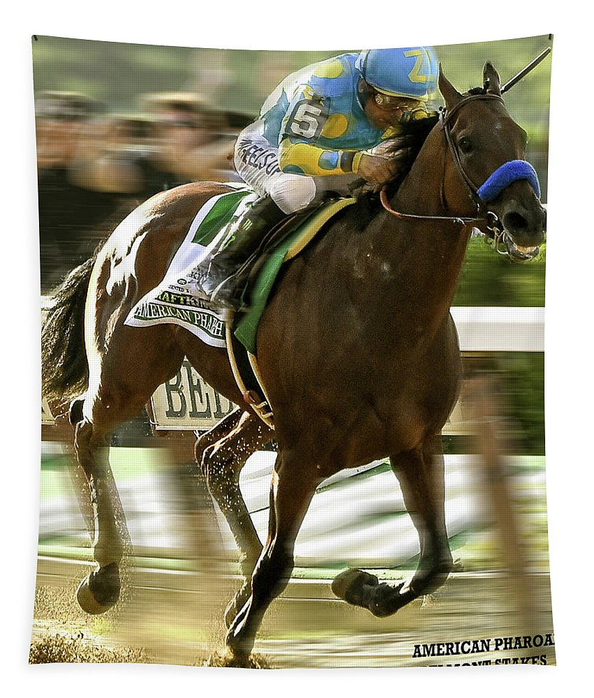 Victor Espinoza Tapestry featuring the mixed media American Pharoah And Victory Espinoza Win The 2015 Belmont Stakes by Thomas Pollart