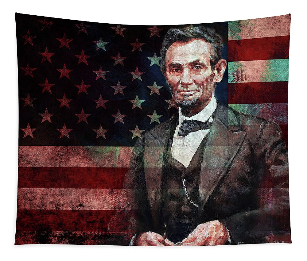 American Tapestry featuring the painting American President Abraham Lincoln 01 by Gull G