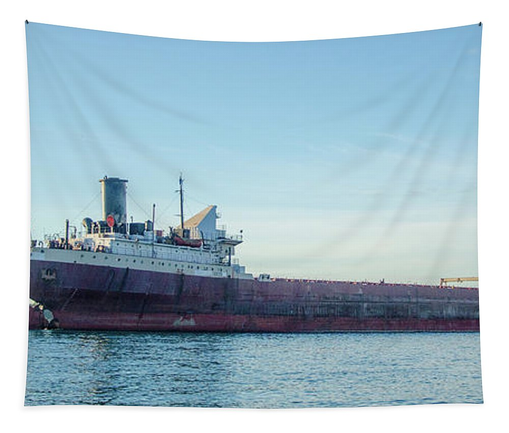 Gales Of November Tapestry featuring the photograph American Victory Off Saint Clair by Gales Of November