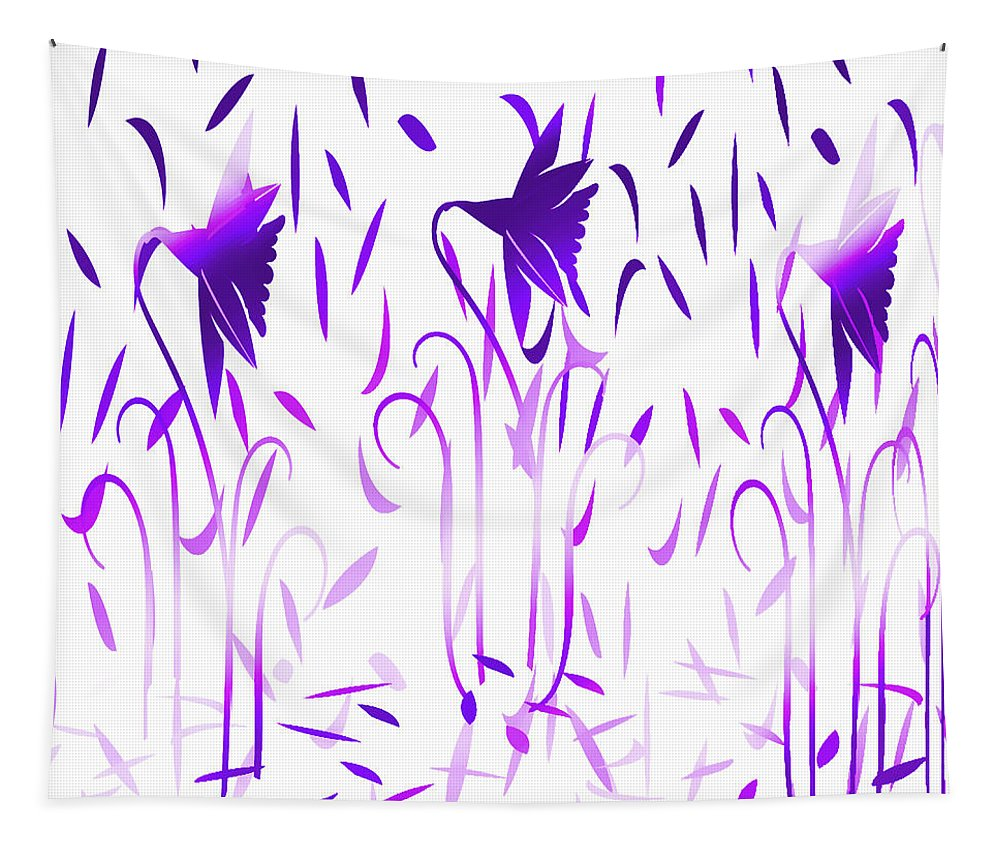Abstract Tapestry featuring the digital art Amethyst Dancing Flowers by Aimee L Maher ALM GALLERY