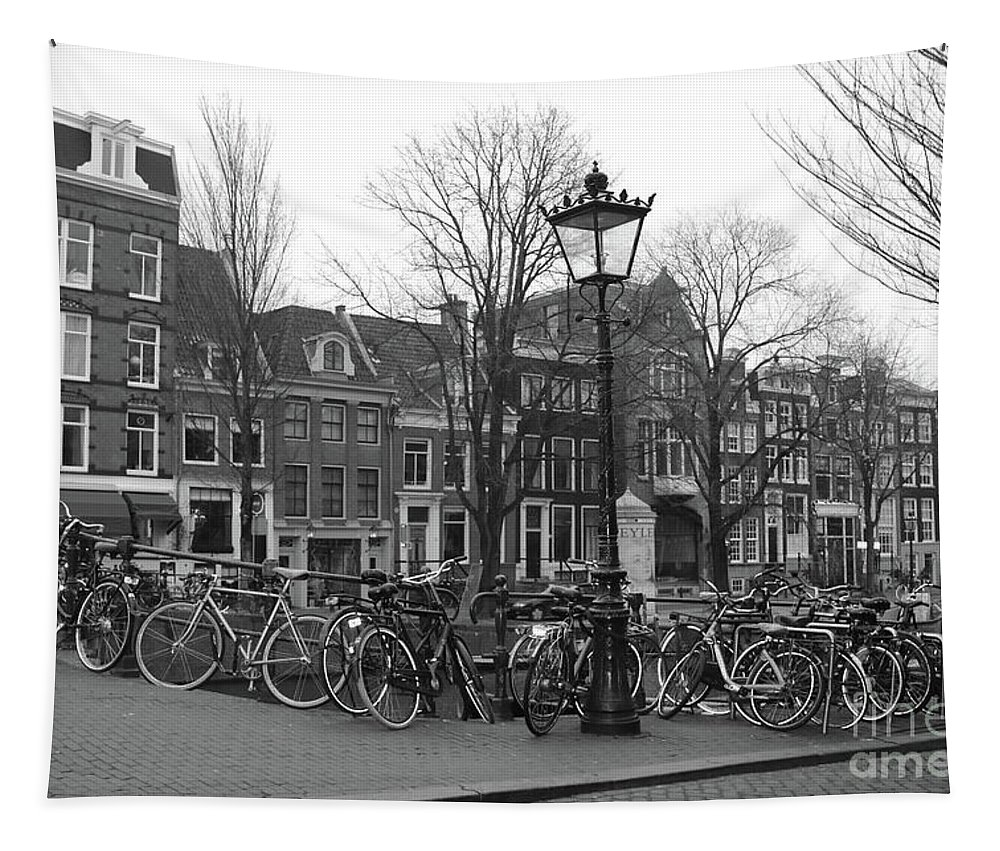 Black And White Tapestry featuring the photograph Amsterdam Bikes Black And White by Carol Groenen