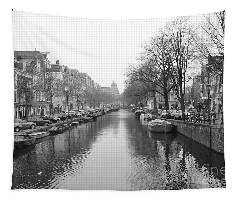 Classic Amsterdam Tapestry featuring the photograph Amsterdam Canal Black And White 2 by Carol Groenen