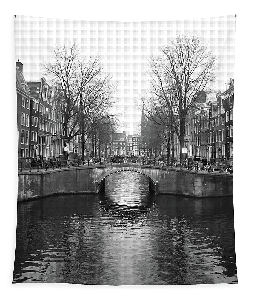 Black And White Tapestry featuring the photograph Amsterdam Canal Bridge Black And White by Carol Groenen