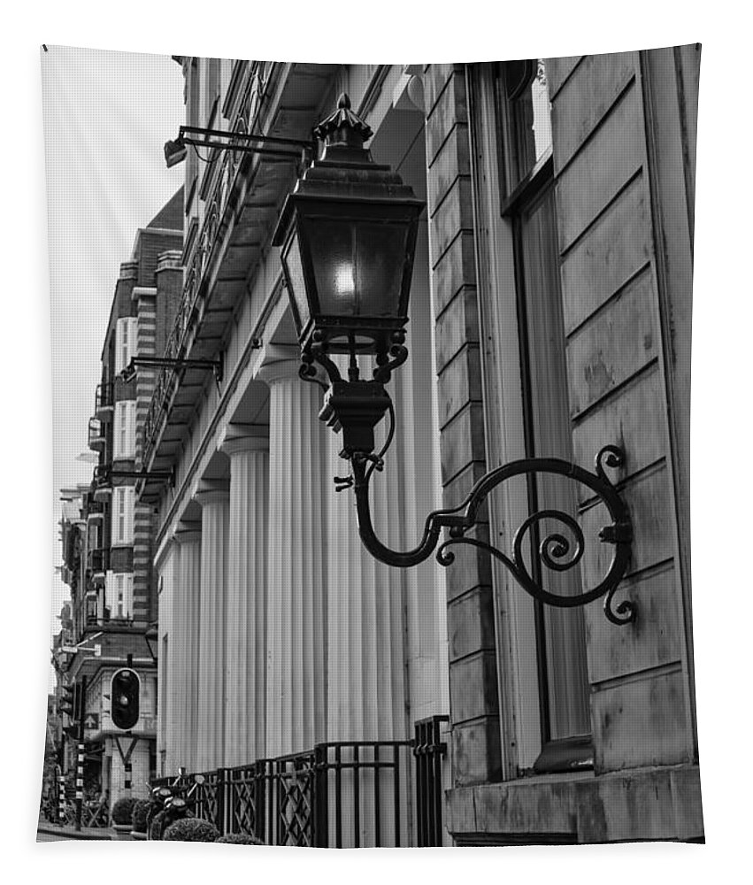 Amsterdam Carriage Light Bw Tapestry featuring the photograph Amsterdam Carriage Light Bw by Phyllis Taylor