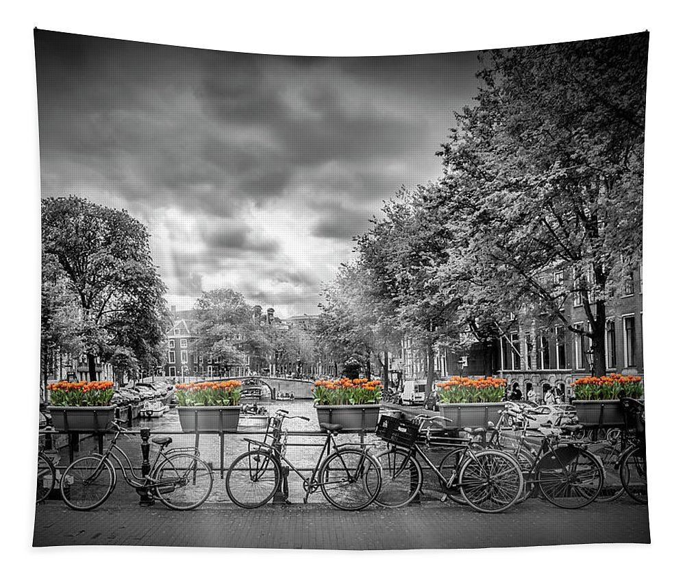 Amsterdam Tapestry featuring the photograph Amsterdam Gentlemens Canal Typical Cityscape by Melanie Viola
