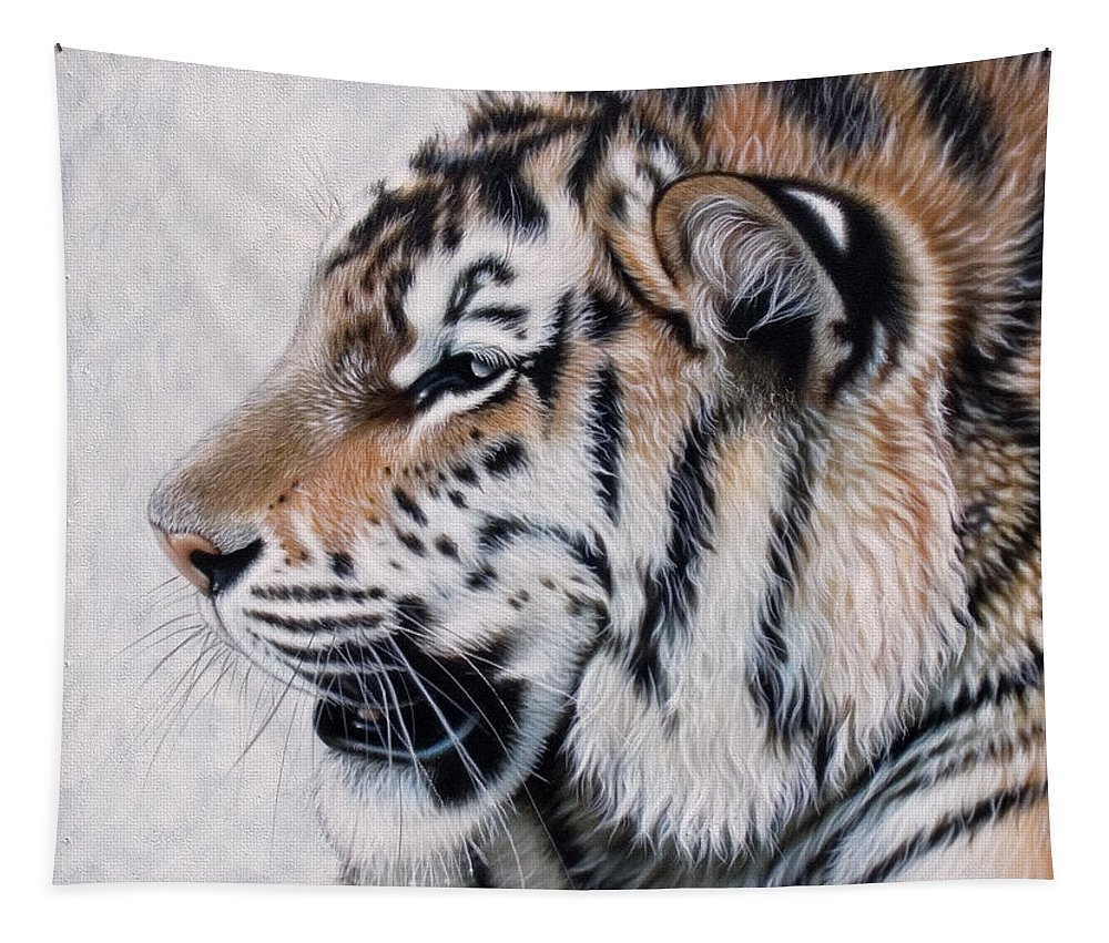 Acrylic Tapestry featuring the painting Amur by Sandi Baker