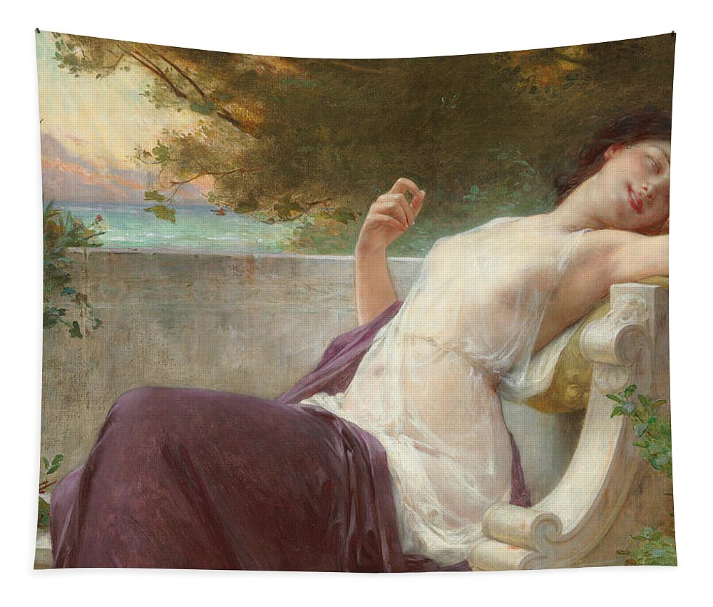 An Afternoon Rest Tapestry featuring the painting An Afternoon Rest by Guillaume Seignac