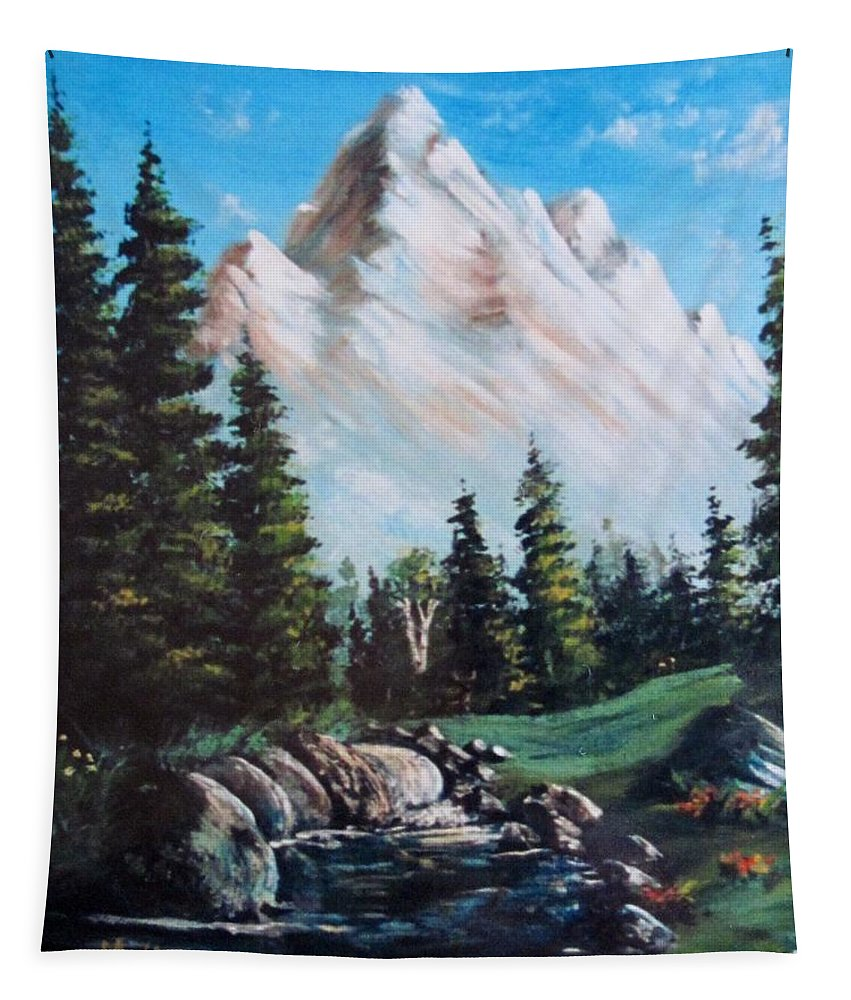 Landscapes Tapestry featuring the painting An Alpine Stream by Megan Walsh